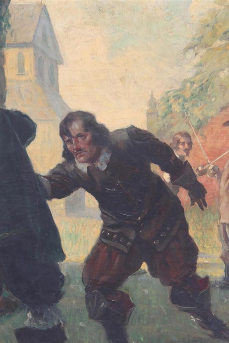HAROLD MATTHEWS BRETT, Massachusetts, 1880-1955, The sword fight., Oil on canvas, 42