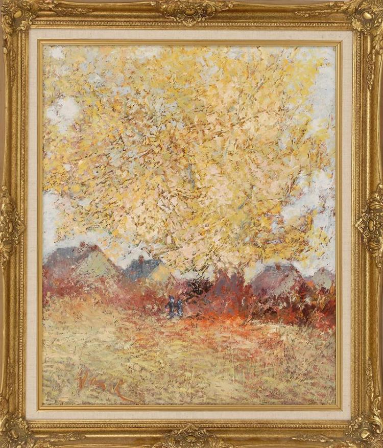 "WARIK WHEATLEY, American, 1928-1996, ""Our Favorite Tree""., Oil on canvas, 24"" x 20"". Framed 30"" x 26""."