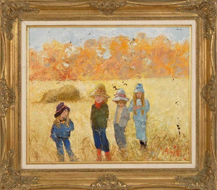 "WARIK WHEATLEY, American, 1928-1996, ""Which Way Now?"", Oil on canvas, 20"" x 24"". Framed 27"" x 31""."