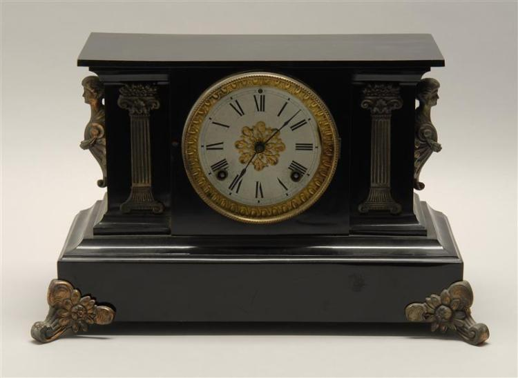 ANSONIA BLACK MARBLE SHELF CLOCK With gilt column-form decorations to front and gilt female-bust decorations to sides. On gilt flori...