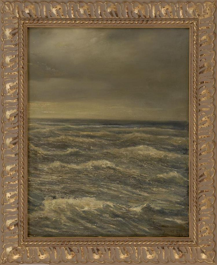 "FRAMED PAINTING: UNTRACED ARTIST Moody seascape. Signed lower right ""Jansen '51"". Oil on canvas, 20"" x 15.5"". Framed 25.5"" x 21""."