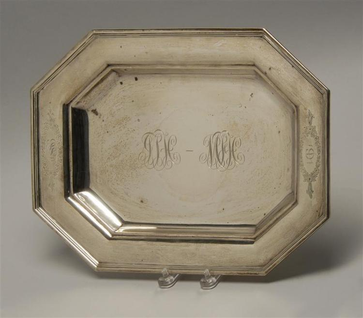"DOMINICK & HAFF STERLING SILVER TRAY Oblong octagonal with molded border and presentation monograms and inscription. Length 16"". App..."
