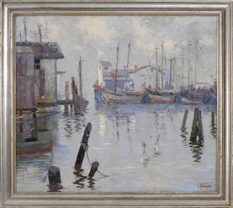 "LOUIS KRUPP, Florida, 1888-1978, Ships in a harbor., Oil on canvas, 28"" x 32"". Framed 32"" x 36""."