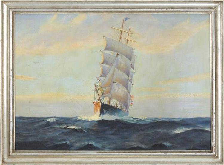 """AMERICAN SCHOOL, First Half of the 20th Century, Ship at sea., Oil on canvas, 24"""" x 34"""". Framed 28.5"""" x 38.5""""."""