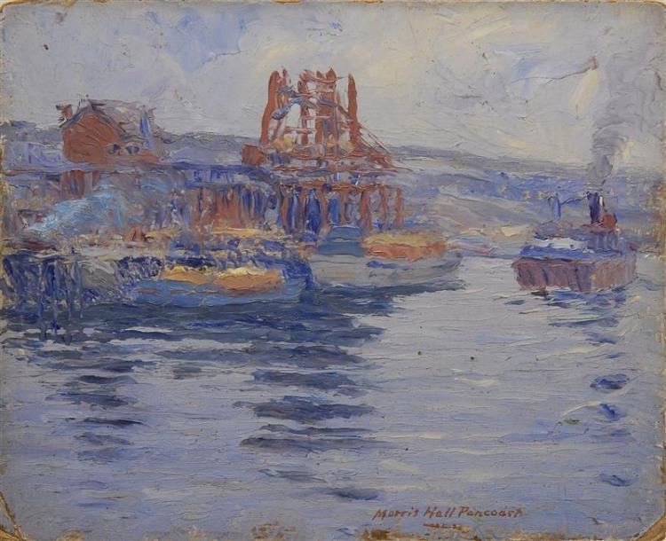 """MORRIS HALL PANCOAST, Massachusetts, Pennsylvania, 1877-1963, """"Along the Schuykill'., Oil on panel, 8"""" x 10"""". Unframed."""