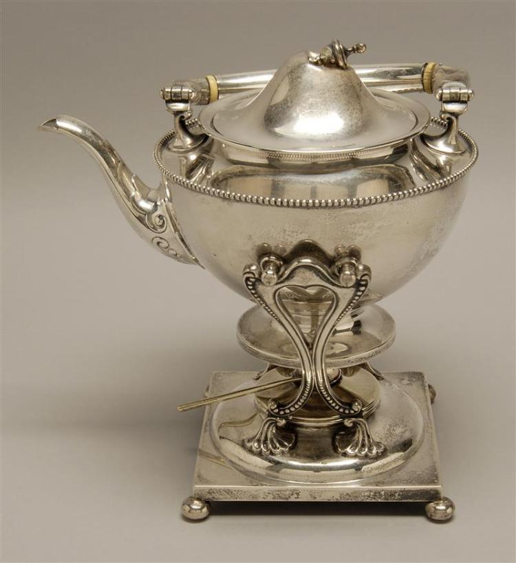 HOWARD NEOCLASSICAL-STYLE STERLING SILVER HOT WATER KETTLE-ON-STAND With urn-form finial and beaded ornament. Kettle monogrammed. Wi...