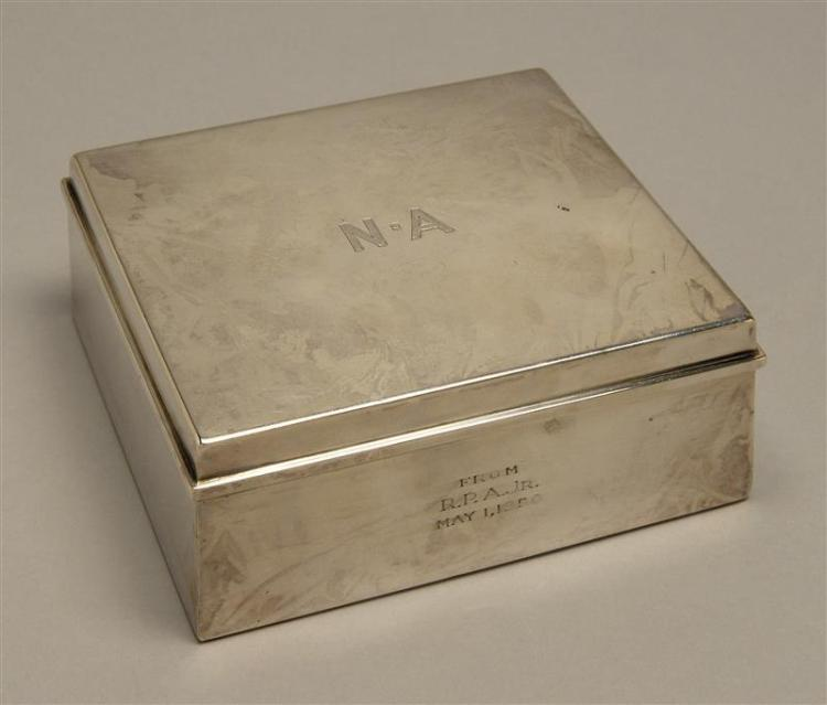 """TIFFANY & CO. STERLING SILVER CIGARETTE BOX Rectangular with hinged cover, cedar lining, and presentation engraving. Height 1.75"""". W..."""