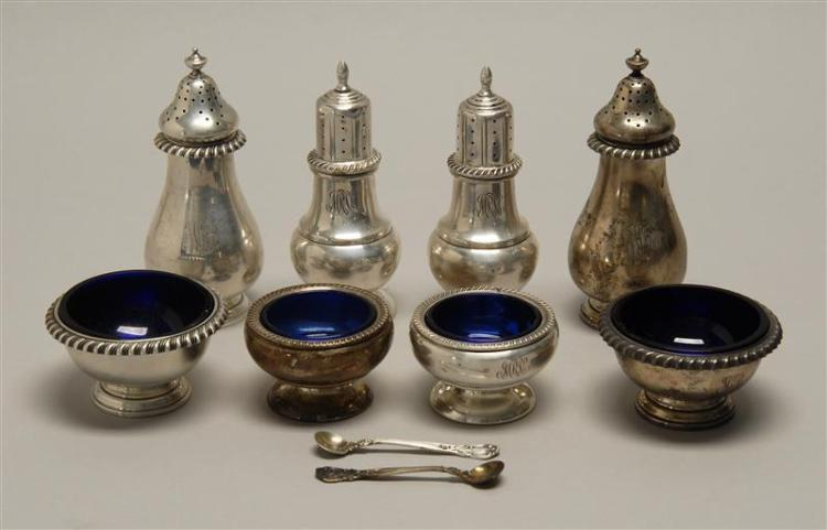 TWO AMERICAN STERLING SILVER SALT & PEPPER SETS One Gorham, the other Fisher. Each set with two open salts with cobalt blue glass li...