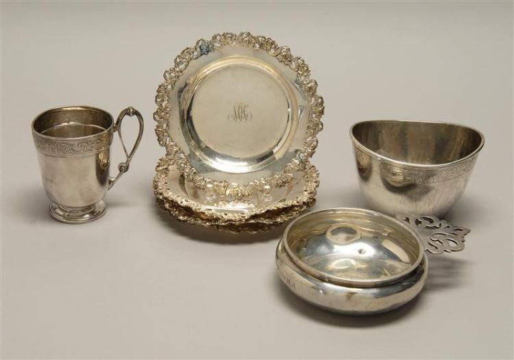 "SEVEN PIECES OF AMERICAN STERLING SILVER 1-4) Four Durgin monogrammed bread plates with pierced rose and ribbon rim. Diameters 5.75""..."