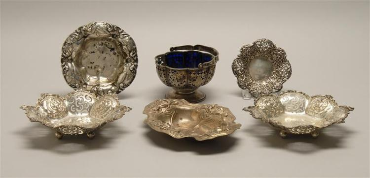 FIVE STERLING SILVER CANDY DISHES AND A CANDY BASKET 1-2) Pair of Theodore B. Starr monogrammed dishes. Octagonal, decorated with pi...