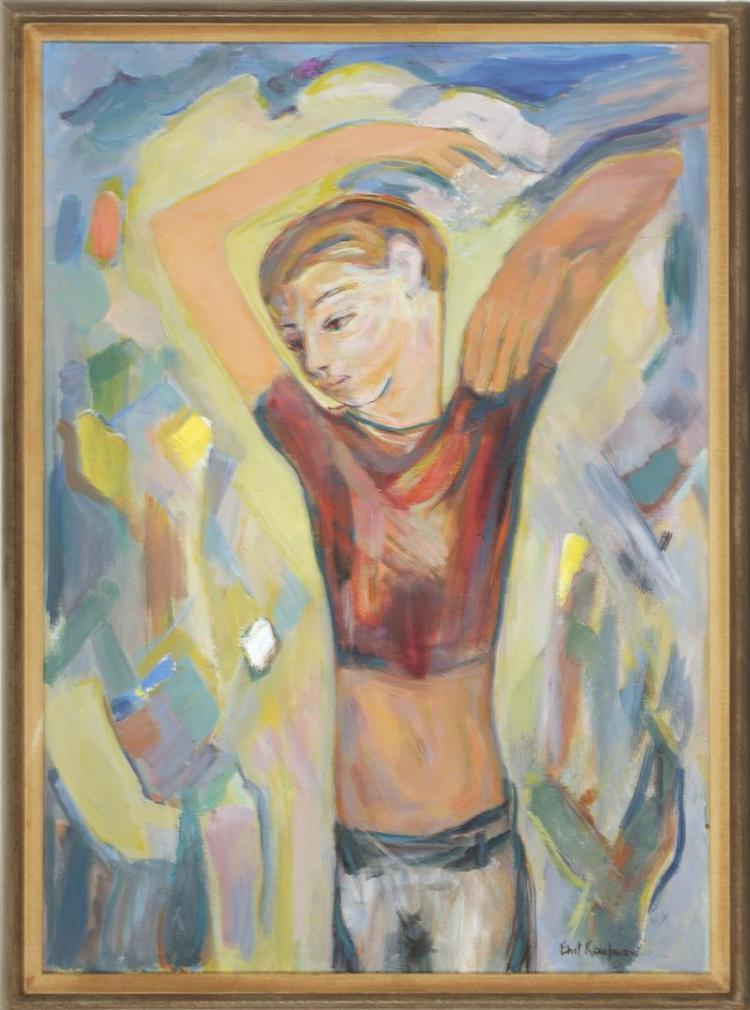 "ENIT KAUFMAN, New York, 1897-1961, ""Youth""., Oil on canvas, 32"" x 23"". Framed 33"" x 24""."