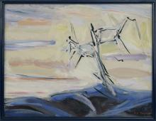 """ENIT KAUFMAN, New York, 1897-1961, Abstract landscape with a lone tree., Oil on canvas, 20"""" x 26"""". Framed 21"""" x 27""""."""