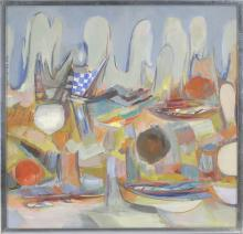 "ENIT KAUFMAN, New York, 1897-1961, ""Abstract #1""., Oil on canvas, 30"" x 31"". Framed 31"" x 32""."