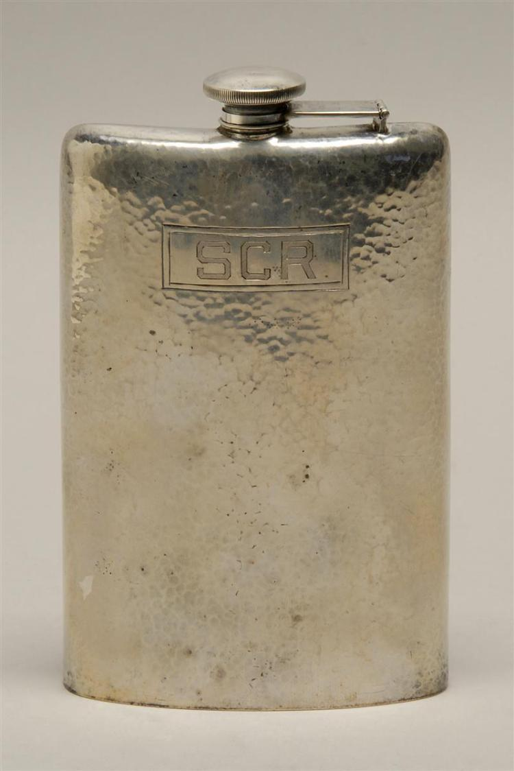 """WEBSTER STERLING SILVER FLASK With hammered surface and monogram. Height 7"""". Approx. 9.4 troy oz."""