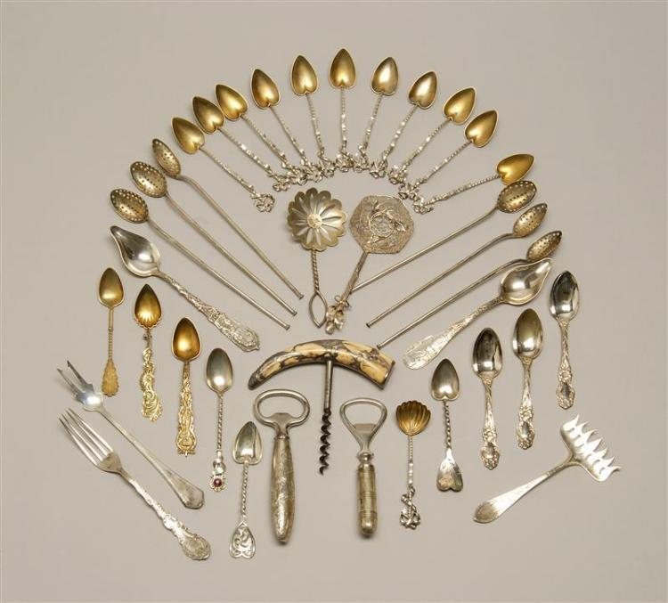 ASSORTED STERLING SILVER FLATWARE 1-12) Twelve demitasse spoons with pierced ribband terminals, twisted stems, and gold-washed heart...