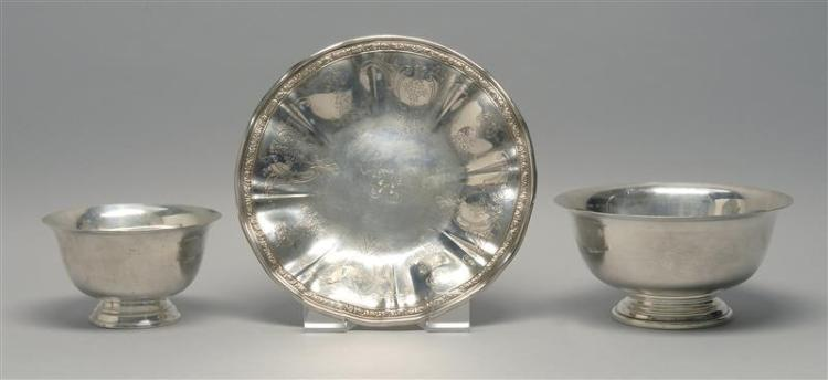 THREE PIECES OF AMERICAN STERLING SILVER HOLLOWWARE 1) Gorham/Durgin footed low bowl with central monogram and engraved design to mo...