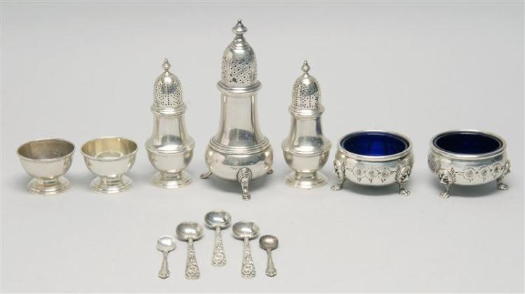 TWELVE AMERICAN STERLING SILVER OPEN SALTS, PEPPER SHAKERS, AND SALT SPOONS 1-4) Two Tiffany & Co. open salts and matching shakers....