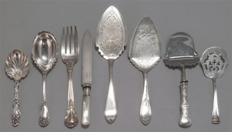 """SIXTY-ONE PIECES OF SILVER FLATWARE Sterling silver unless otherwise noted. 1-12) Twelve Gorham """"Mother's Old"""" monogrammed five o'cl."""