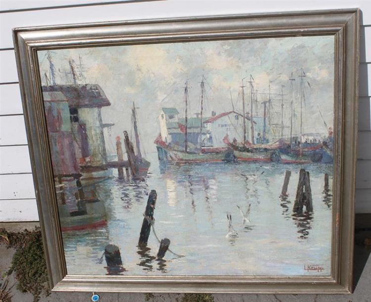 LOUIS KRUPP, Florida, 1888-1978, Ships in a harbor., Oil on canvas, 28