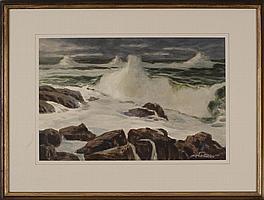 "JOSEPH L. C. SANTORO, American, 1908-1996, Crashing waves., Watercolor on paper, 14"" x 21"" sight. Framed."