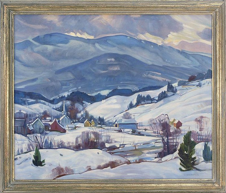 ABRAHAM ROSENTHAL, American, 1886-1963, New England town in winter., Oil on canvas, 26