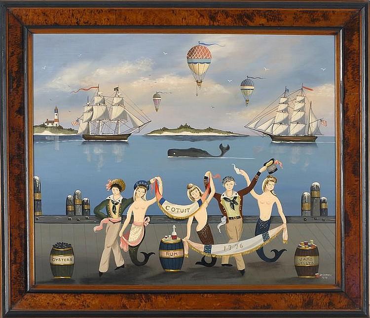 """RALPH EUGENE CAHOON, JR., American, 1910-1982, """"Cotuit 1776""""., Oil on masonite, 24"""" x 29"""". Framed."""