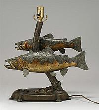 """GEORGE NORTHUP, American, Contemporary, """"Beaverhead Browns""""., Lamp sculpted in bronze, 15½"""" x 18""""."""