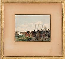 EDOUARD JEAN BAPTISTE DETAILLE, French, 1848-1912, Battle scene with lancers., Watercolor on paper, 8.5