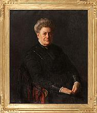 """JOSEPH RODEFER DECAMP, American, 1858-1923, Portrait of a woman dressed in black., Oil on canvas, 30"""" x 25"""". Framed."""