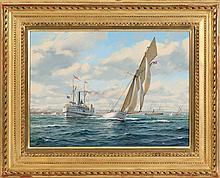 "ROY CROSS, English, b. 1924, ""Volunteer, America's Cup Yacht""., Oil on canvas, 16"" x 22"". Framed."