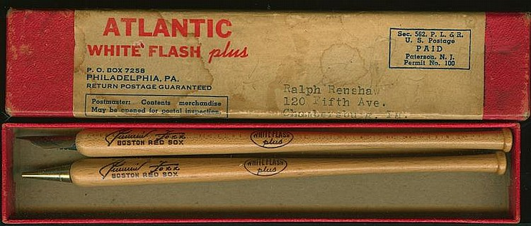 ATLANTIC GASOLINE PEN/PENCIL SET: RED SOX BASEBALL PLAYER JIMMIE FOXX Fountain pen and mechanical pencil in the shape of a baseball...