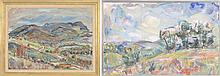 """ENIT KAUFMAN, New York, 1897-1961, Two landscapes., Oils on canvas, 21"""" x 28"""" and 18"""" x 28"""". Both framed, the largest 26"""" x 34""""."""