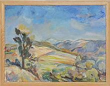 """ENIT KAUFMAN, New York, 1897-1961, Landscape with distant mountains., Oil on canvas, 21"""" x 28"""". Framed 23"""" x 30""""."""