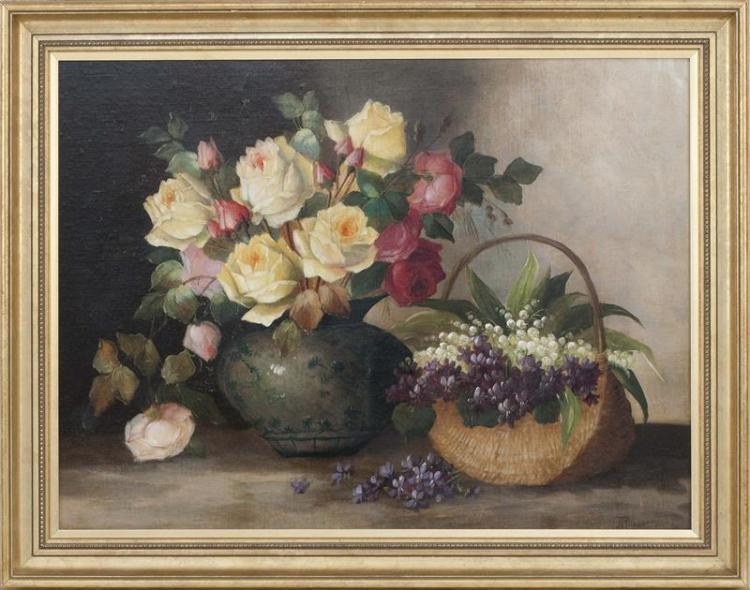 JOSEF PLANER, Austrian, 20th Century, Tabletop still life with lilacs and roses., Oil on canvas laid down on masonite, 22.5