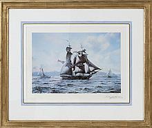 """ROY CROSS, British, b. 1924, A two-masted brig., Print, 13"""" x 18"""" sight. Framed 23.5"""" x 28""""."""