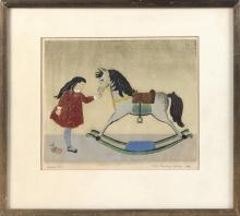 """ALICE PAULINE SCHAFER, New York, 1899-1980, """"Rocking Horse""""., Etching on paper, 8.5"""" x 10.25"""" sight. Framed 14"""" x 15.5""""."""