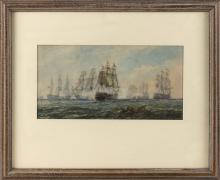 """JAMES EDGAR MITCHELL, England, 1871-1922, Ships in battle., Watercolor on paper, 7.25"""" x 14.5"""". Framed 18"""" x 22""""."""
