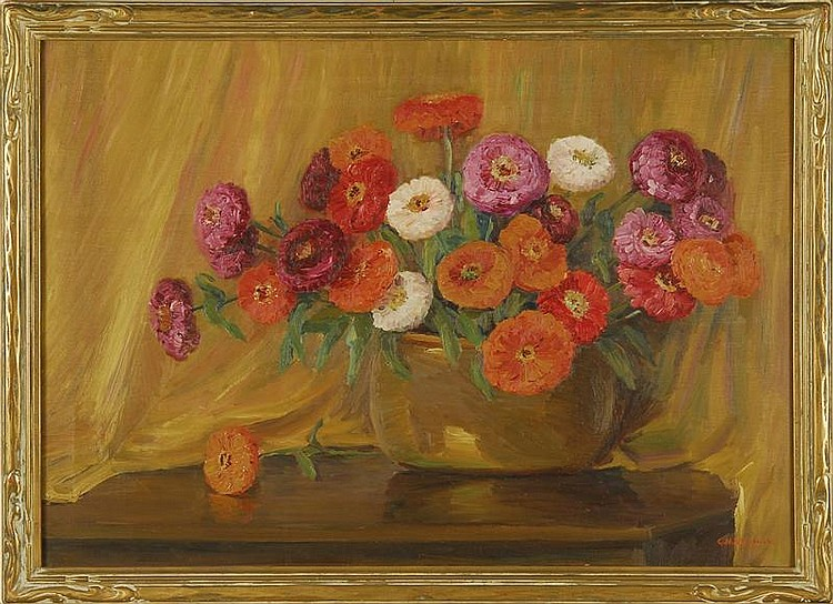 CLARA MAXFIELD ARNOLD, American, 1879-1959, Still life of a bowl of zinnias on a table., Oil on canvas, 24