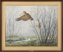 "MAYNARD REECE, Iowa, b. 1920, ""Woodcock"",, Oil on canvas, 24"" x 30"". Framed 29.75"" x 36""."