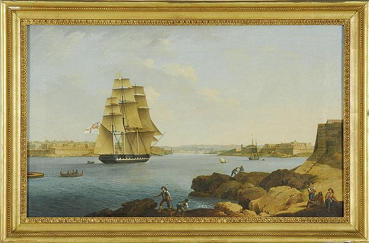 ATTRIBUTED TO ANTON SCHRANZ, Austrian, 1769-1839, British gunship entering port., Oil on canvas, 13½