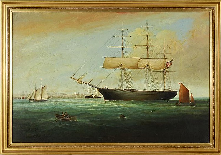 BRIAN COOLE, English, b. 1939, An American ship off port., Oil on canvas, 27