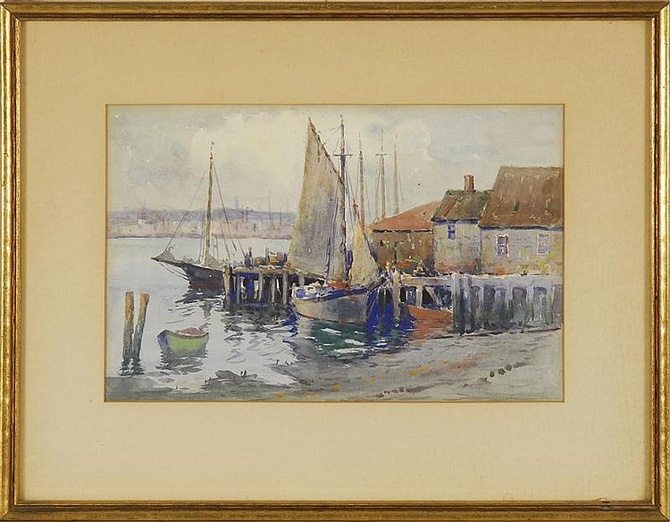 ATTRIBUTED TO JOHN A. COOK, American, 1870-1936, Boats at a dock., Watercolor, 7½