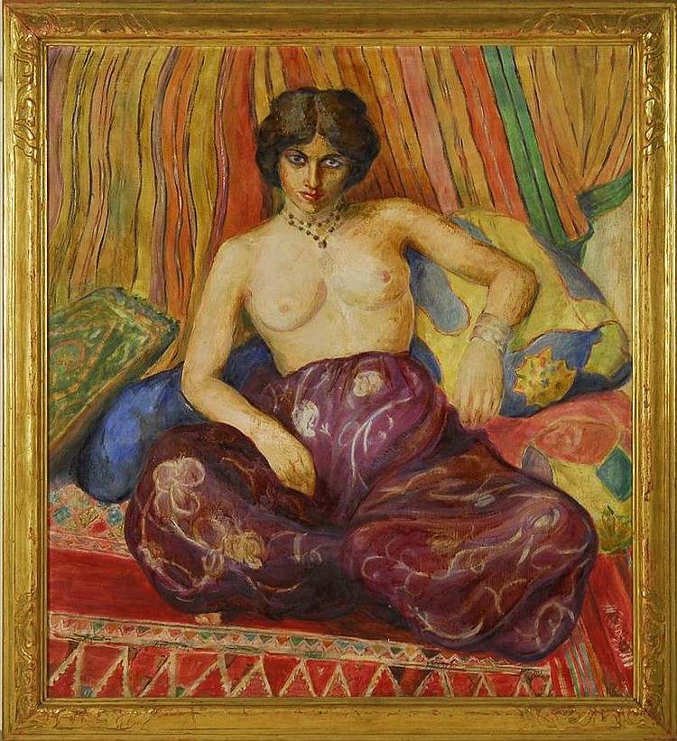 HORTENSE T. FERNE, American, 1885-1976, Portrait of a semi-nude young woman., Oil on canvas, 40
