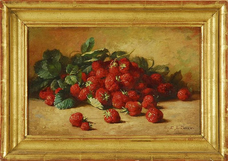 EMMA LEVINIA SWAN, American, 1853-1927, Still life of strawberries., Oil on canvas, 10