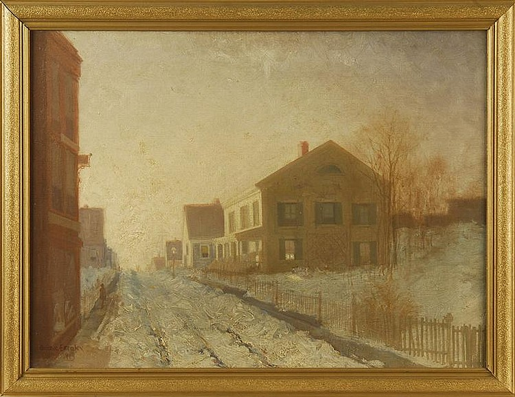 CLARENCE E. BRALEY, American, 1854-1927, New Bedford street in winter., Oil on canvas, 18