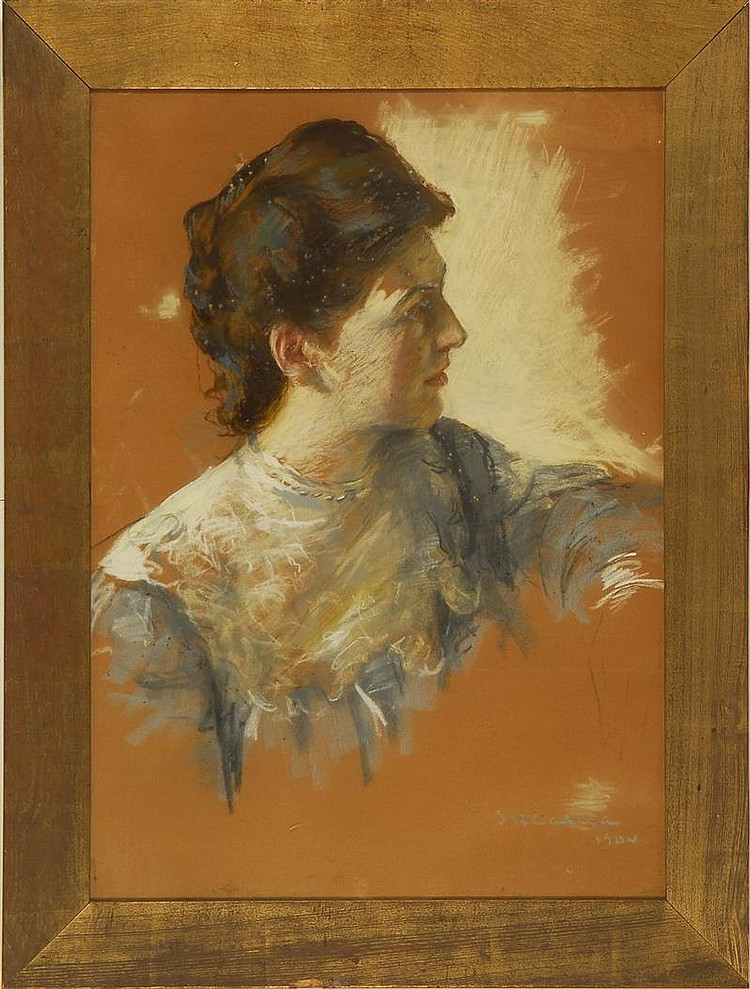 ISAAC HENRY CALIGA, American, 1857-1934, Portrait of a lady., Pastel on paper, 27½