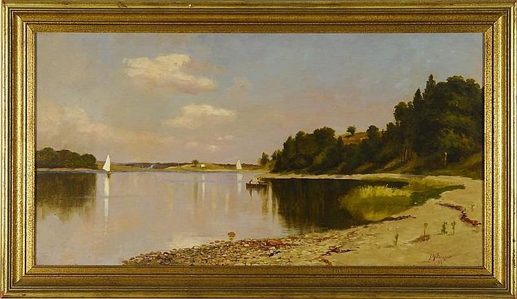 JOHN NOBLE BARLOW, American, 1861-1917, A quiet cove., Oil on canvas, 16