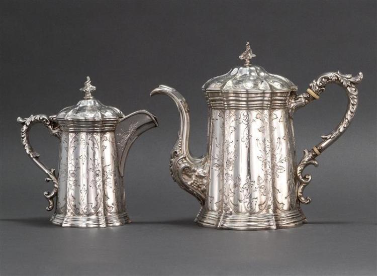 WILLIAM GALE & SON COIN SILVER TEAPOT AND MILK JUG Both with flame-form finials and pagoda-form covers. Conforming bodies with panel...