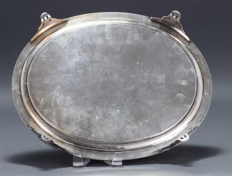 JONES, BALL & CO. COIN SILVER PRESENTATION TRAY Oval tray with beaded rim and four feet. Central inscription