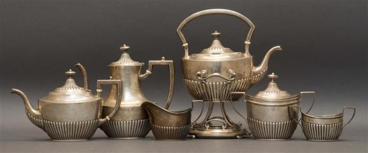FIVE-PIECE WHITING STERLING SILVER TEA SERVICE Together with an English Victorian open sugar bowl with similar decoration. Tea servi...